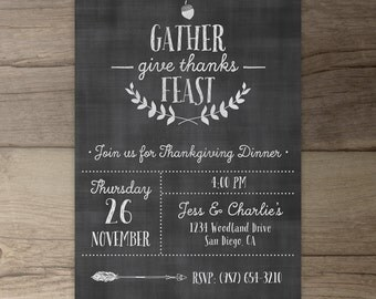 Thanksgiving Dinner Invitation • Gather Give Thank Feast • Invite • fall party • DIY printable