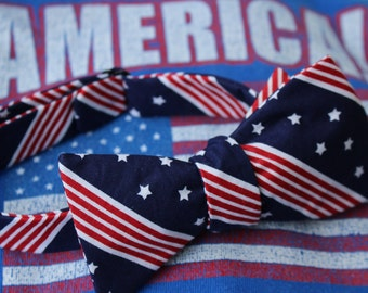 Red, White, and Blue Patriotic Bow Tie