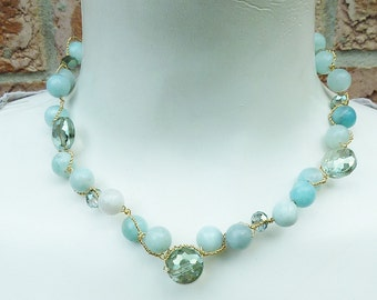 Opague Pale Blue Gold Wire Twisted Amazonite Necklace