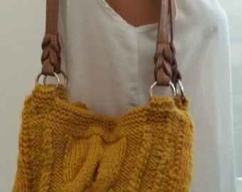 Hand-knit Gold Cable Bag