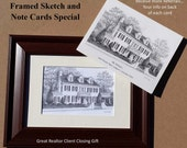Real Estate Gift Custom Home Portrait & Note Cards-Graphite Pencil Original Your My Home Sketch Drawing Christmas  First Home  Closing Gifts