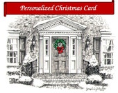 """Custom art of """"Your Front Door""""  Original Sketch Personalized Printable e-Cards Home portraits Watercolor Custom Christmas Cards  Holiday"""