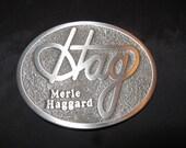 Merle Haggard Belt Buckle Hag Logo Very Nice