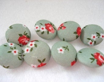 16mm Green Floral Fabric Buttons Pack of 8 Green Fabric Buttons