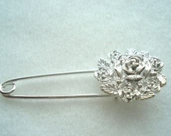 Shawl Pin Silver Plated Flower Shawl Pin Flower Kilt Pin MB35