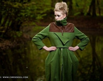 Green Wool Structured Coat - Winter Coat - Winter Jacket