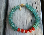Red-orange, Aqua and Gold Bracelet.  Czech glass Bracelet.  Magnetic Closure Bracelet.  Gift for Her.