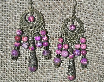 Magenta Magnesite Bohemian Bronze Dangle Earrings