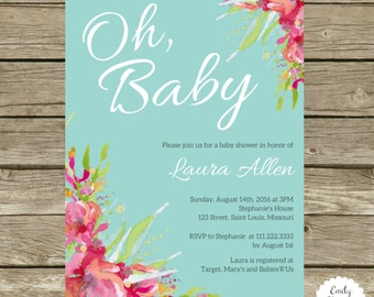 5x7 Baby Shower Invite with Watercolor Floral Detail - Digital or Printed Design