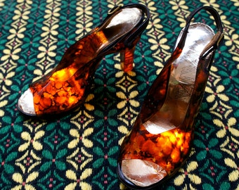 GLOWING LUCITE 1960's Peep Toe Heels, by Viva, Size 5 1/2 US
