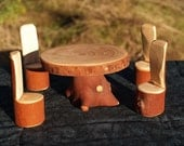 Primitive Doll Furniture Table and 4 Chairs, Waldorf Inspired, Fairy Furniture
