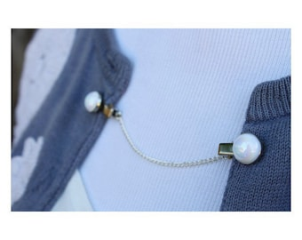 Sweater Guard Cardigan Clip Collar Clip Vintage Inspired Retro Dainty Silver Jewelry - Kimberly