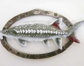Painted ~ Sturgeon Large ~ Holiday Ornament ~ FP087OR