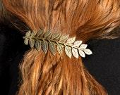 Brass Hair Clip, Leaf Barrette, Alligator Hair Clip, Branch Hair Clip, Brass Barrette, Boho Barrette, Goddess Hair Piece