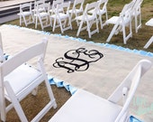 Ivory Burlap Ruffle Aisle Runner- Monogram- Personalization- Ready to Ship, 15ft Long X 5ft Wide
