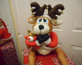 Handmade Upright Vacuum Cleaner Cover-STICK HANDLE-Decor-Reindeer on Christmas Package - Makes a GREAT Christmas Gift!