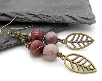 Mookaite Earrings, Gemstone Jewellery, Mookaite Drop Earrings, Earth Tones, Wire Wrapped Jewellery, Gemstone Drop Earrings, Antique Bronze