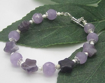 Amethyst Gemstone Jewellery, Star Bead Bracelet, Natural Stone Jewellery, February Birthstone, Purple and Silver, Semi Precious Stone,