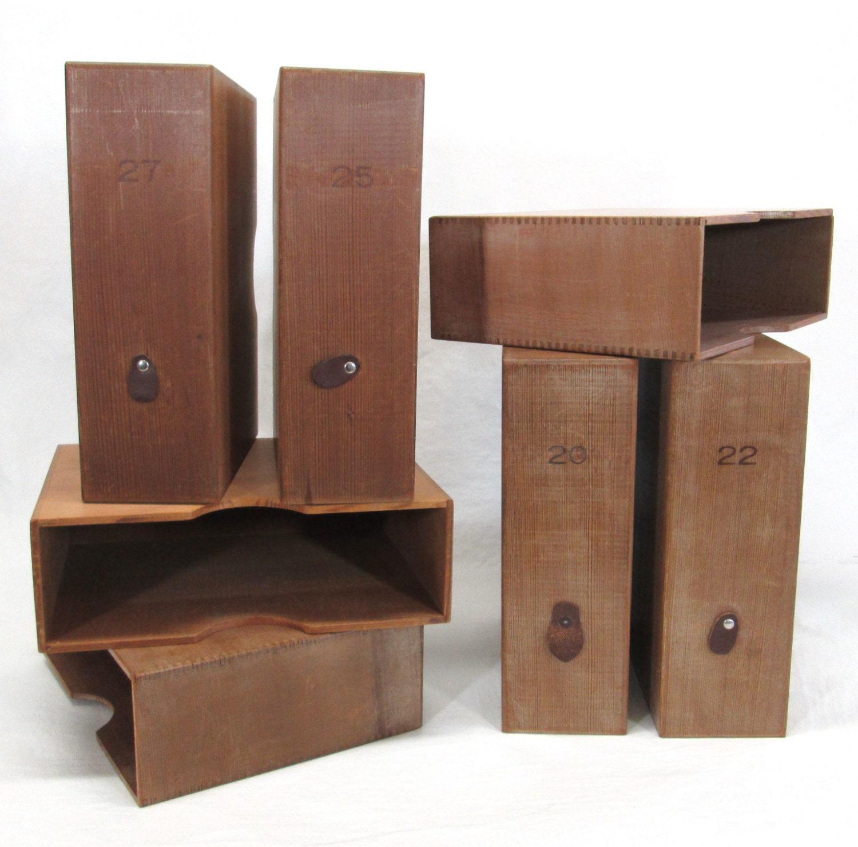 vintage wood magazine file box shelf organizers industrial. Black Bedroom Furniture Sets. Home Design Ideas