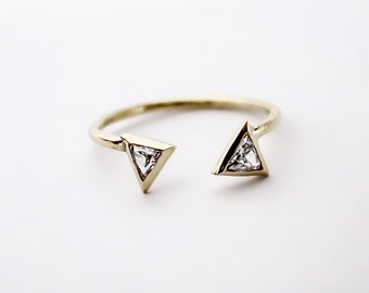 Unique 14k Gold Triangle Cut Diamond Cuff Ring