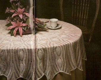 Vintage 80s Oval Pineapple Tablecloth Crochet Pattern - PDF Instant Download