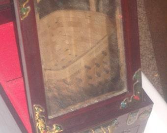 Vintage Rosewood ORIENTAL JEWELRY BOX