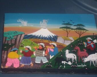 Vintage Ecuadorian sheepskin painting