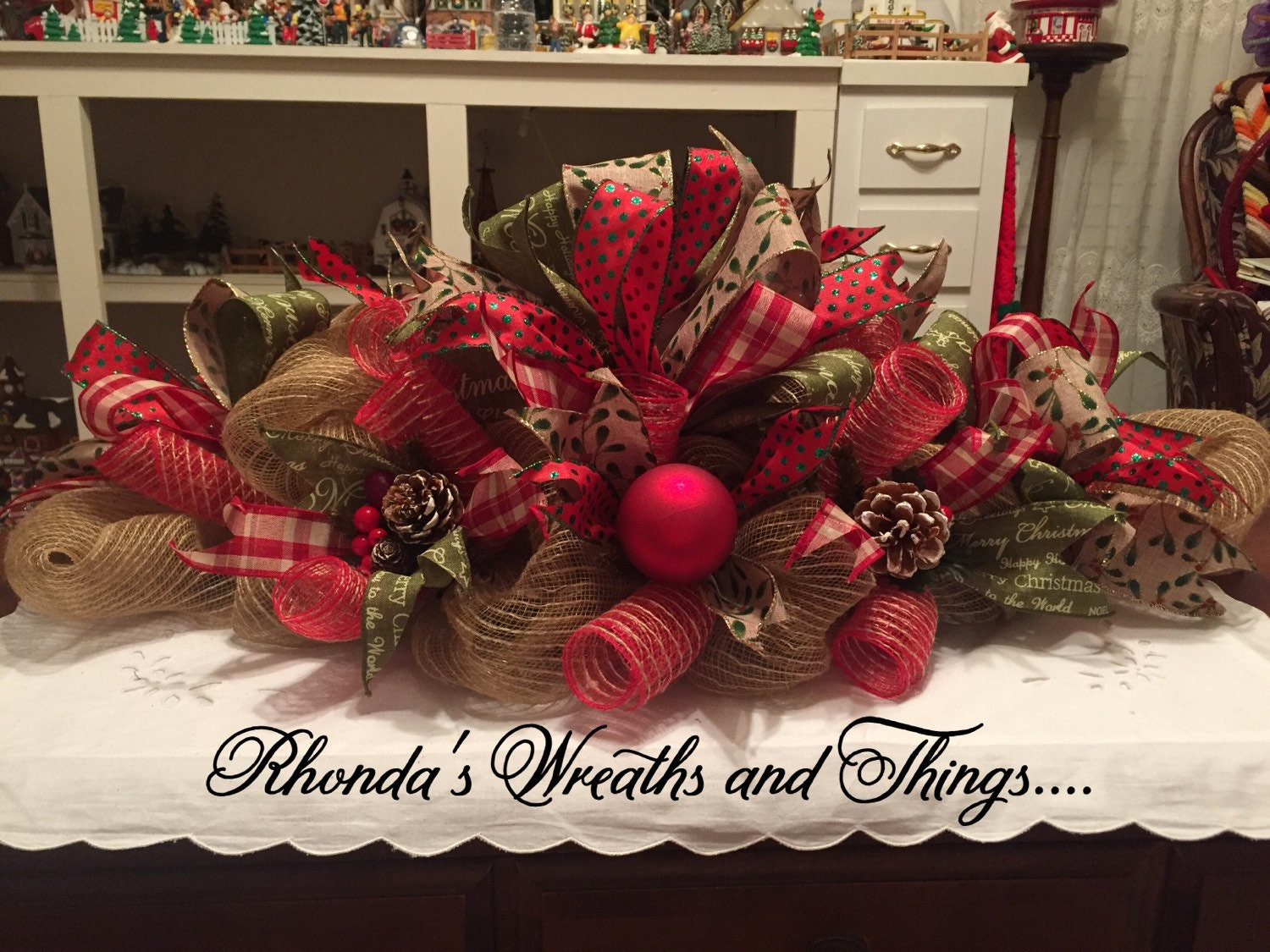 Burlap merry christmas centerpiece by rhondaswreaths