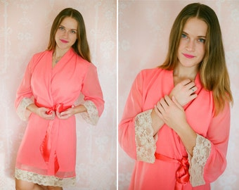 NUDE CORAL.  One custom elegant lace trimmed chiffon robe. Bridal lace robe. Coral melon robe. Bridal lingerie. Long bridal robe.