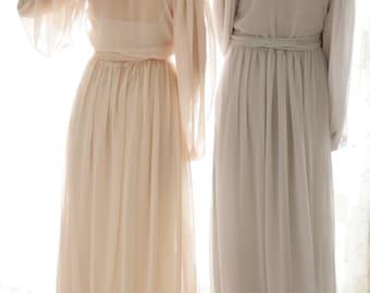 Trieste. One custom Poet sleeve chiffon robe. Long bridal robe in chiffon with draped sleeves. Full skirt & train Lingerie robe with slip