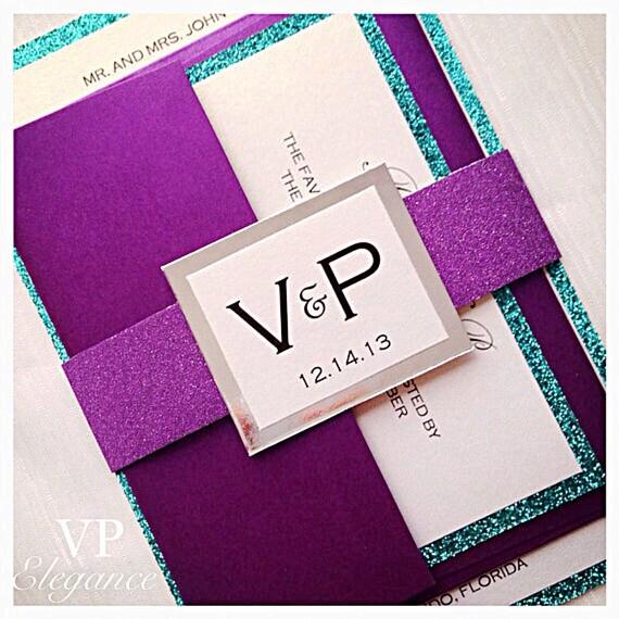 purple wedding invitations purple and teal wedding, Wedding invitations