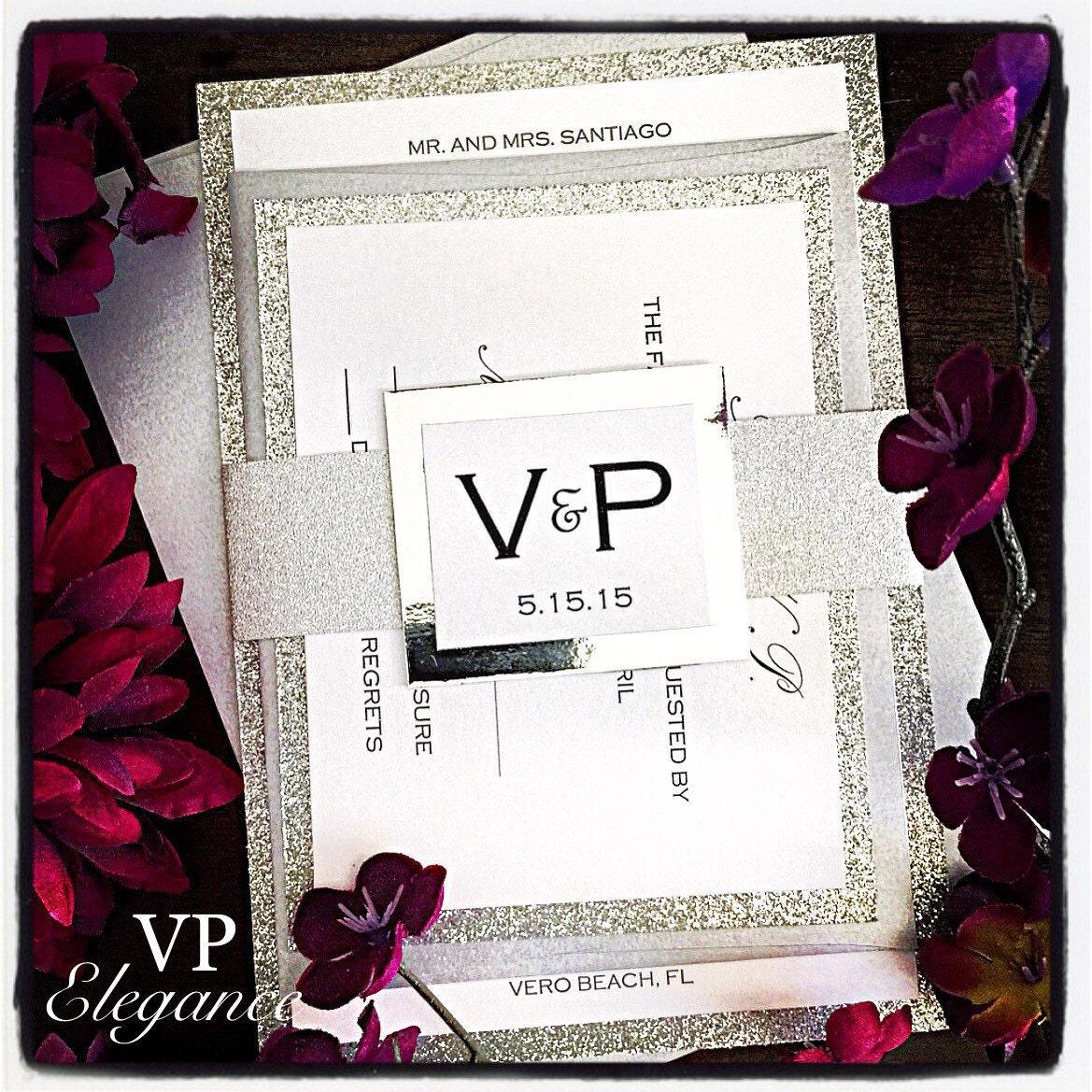 Silver Wedding Invitations: Silver Wedding Invitation Silver Glitter Wedding Invitation