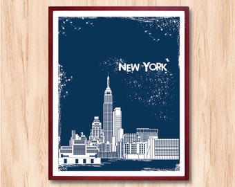 New York City Skyline, Instant Download, Letterpress Style, art print, Personalized gift, Wall art, wedding gift, chicago art, kids art