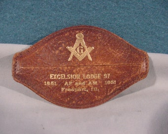 Coin Purse, Advertising Masons Excelsior Lodge 97 Freeport ILL, 1951