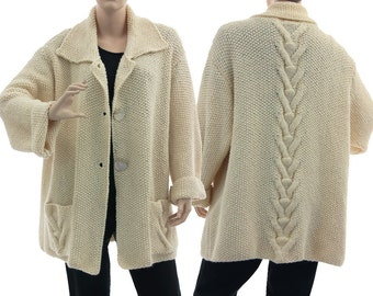 Hand knitted ecru sweater cardi, oversized sweater cabled + textured, sweater merino baby alpaca mix, fits plus sizes L XL, US size 14-18