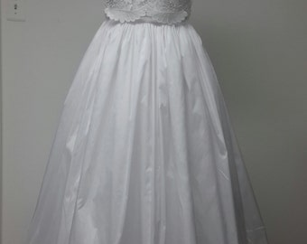 Silk Taffeta Wedding Skirt. Inside Pockets. Separate Petticoat Included. Train. Handmade. Plus Size Available.