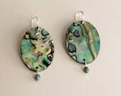 Abalone Earrings, Boho Jewelry, Abalone Shell Earrings, Paua Shell Jewelry, Paua Mother of Pearl