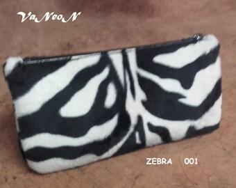 Astuccio / bustina porta oggetti zebrato MADE IN ITALY