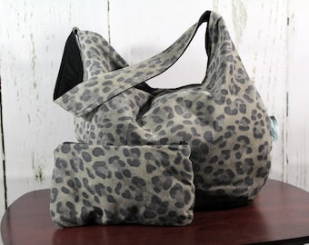 One Of A Kind Animal Print Leather Hobo w/ Zippered Wallet- Ready To Ship