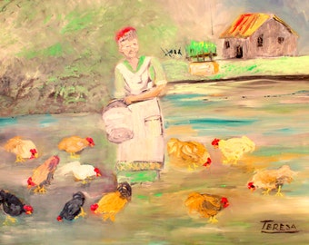 Feeding the Chickens Oil Painting. 18x24 Canvas. Original. Older Lady feeding Chickens. Textured, Vibrant and Colorful. Varnished.