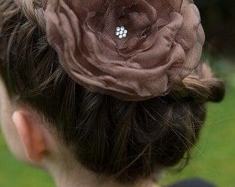 FLOWER HAIR CLIP with Swarovski crystals - Brown Organza (Large)