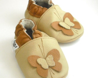 soft sole baby shoes handmade infant gift girl beige brown butterfly 2 3 chaussons Krabbelschuhe Lederpuschen chaussures ebooba BF-40-BE-T-5