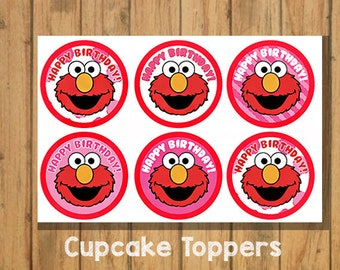 DIY Elmo Cupcake Toppers