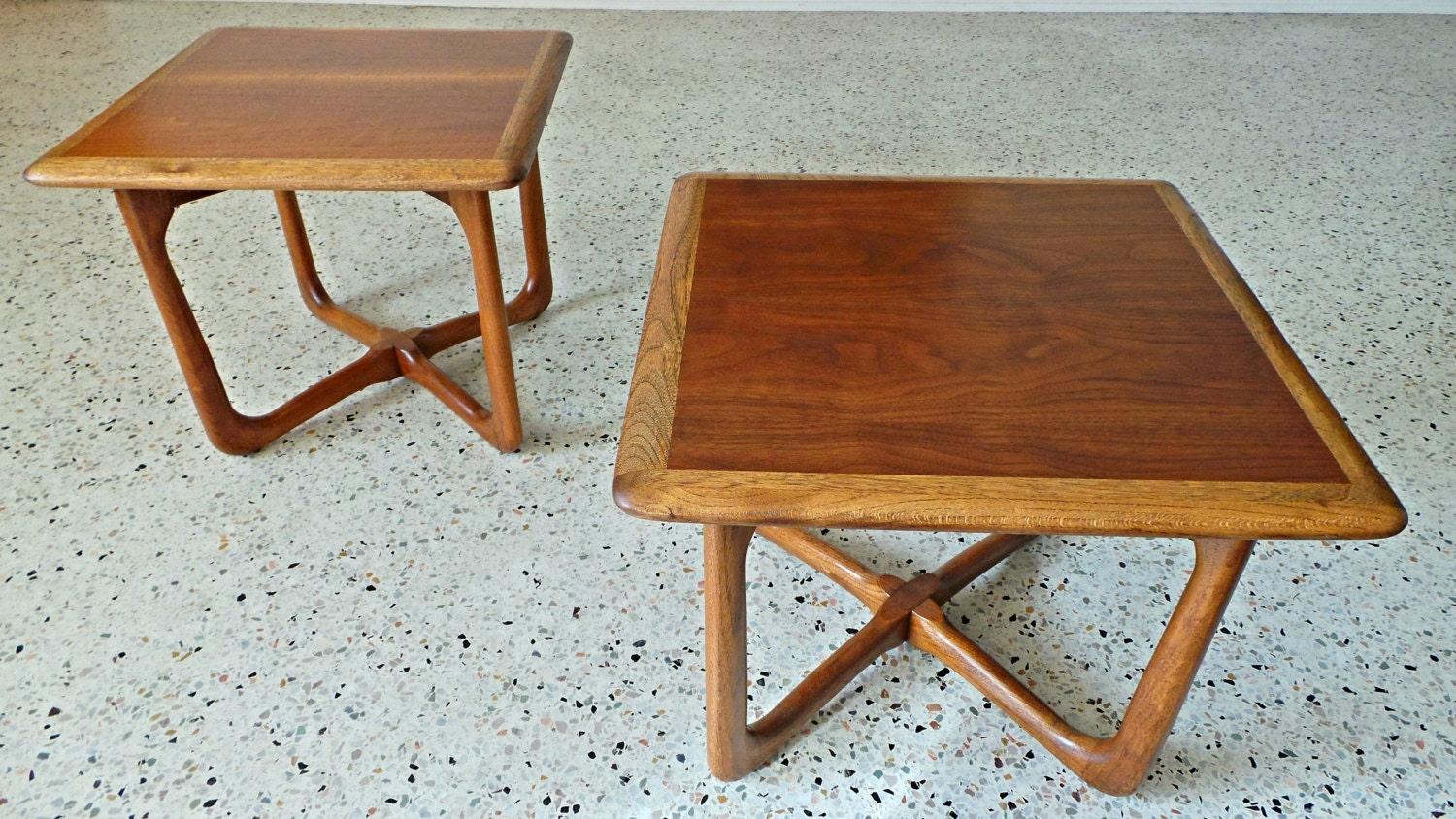 mid century modern lane two tone petite x base side table. Black Bedroom Furniture Sets. Home Design Ideas
