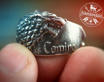 Game of Thrones Direwolf Ring of House Stark - 925 Sterling Silver - US Size 8/9/10/11