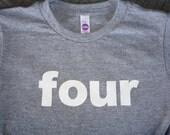6T four Birthday Shirt Heather Grey Children/Toddler Short Sleeve Tri Blend Tee:  Ready to Ship!