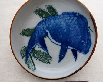 Sale... Wonderful Japanese Antique Small Ceramic Plate, Tai Fish Image, c.1900,  Tai-501