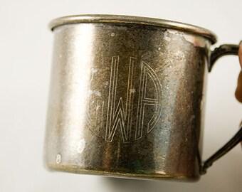 "Oneida Silver Plate Child's Mug Vintage Silver Plate with Art Deco Monogram ""GWA"""