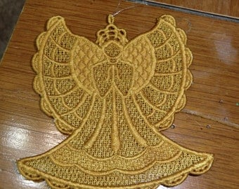 Embroidered Ornament - Christmas - Gold Angel