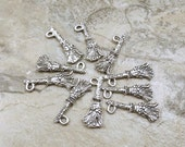 Set of Ten (10) Pewter Witch's Broom Charms - 5207
